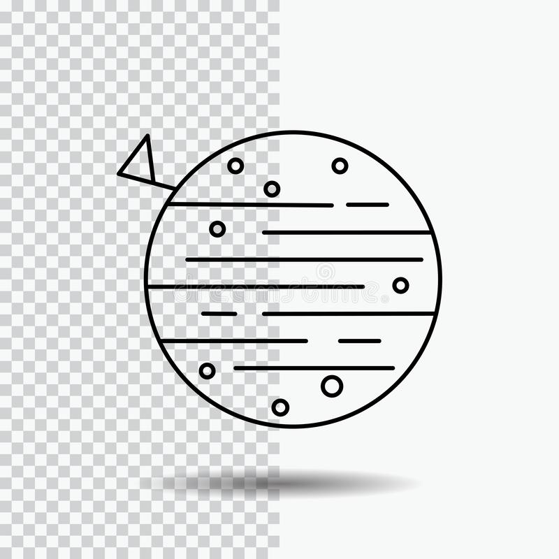måne planet, utrymme, squarico, jordlinje symbol på genomskinlig bakgrund Svart symbolsvektorillustration vektor illustrationer