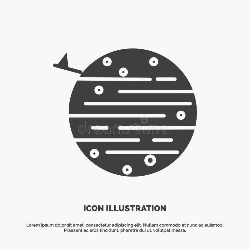 måne planet, utrymme, squarico, jordsymbol gr?tt symbol f?r sk?ravektor f?r UI och UX, website eller mobil applikation vektor illustrationer