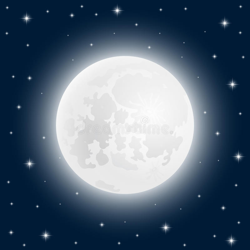 Måne som är nära upp på himlen med glänsande stjärnor stock illustrationer