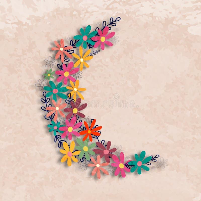 Måne som göras av blommor för islamiska festivaler vektor illustrationer