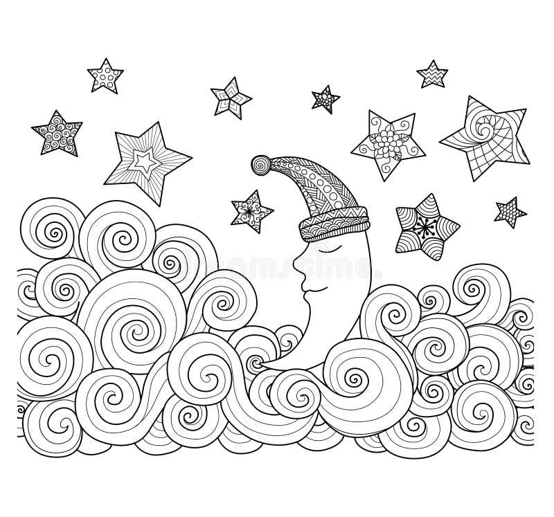 Måne som sover bland stjärnazentangledesignen för färgläggningboken för vuxen människa vektor illustrationer