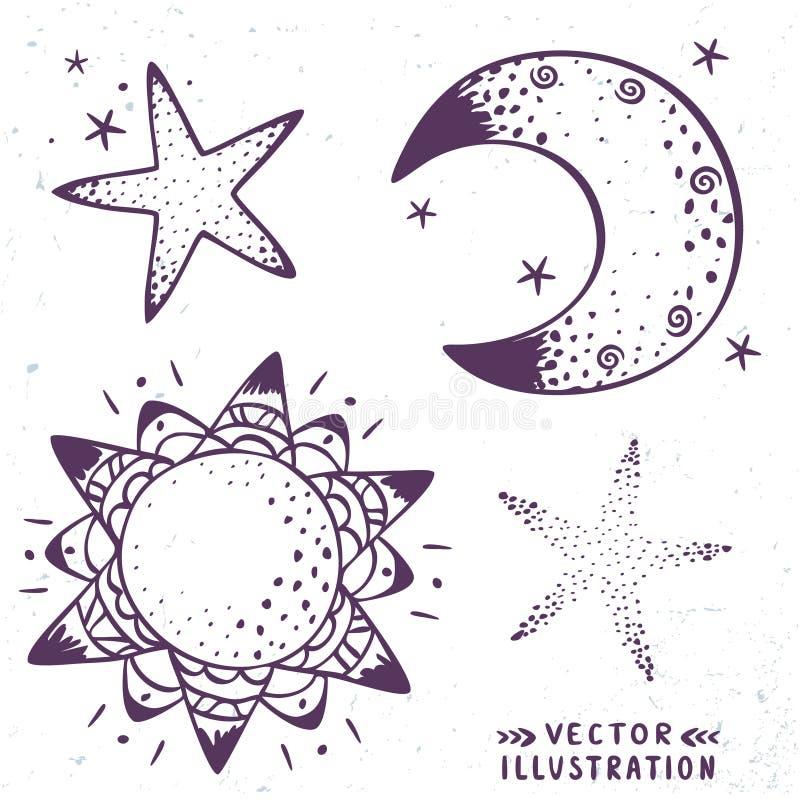 Måne stjärnor, sol royaltyfri illustrationer