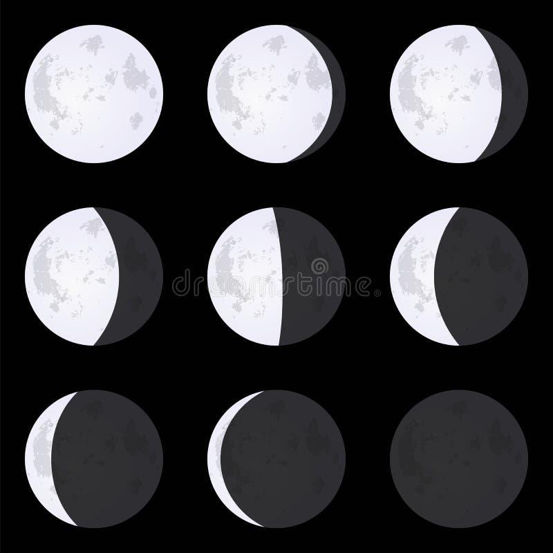 Månefaser: ny måne, fullmåne, halvmånformig Uppsättning av vektorillust vektor illustrationer