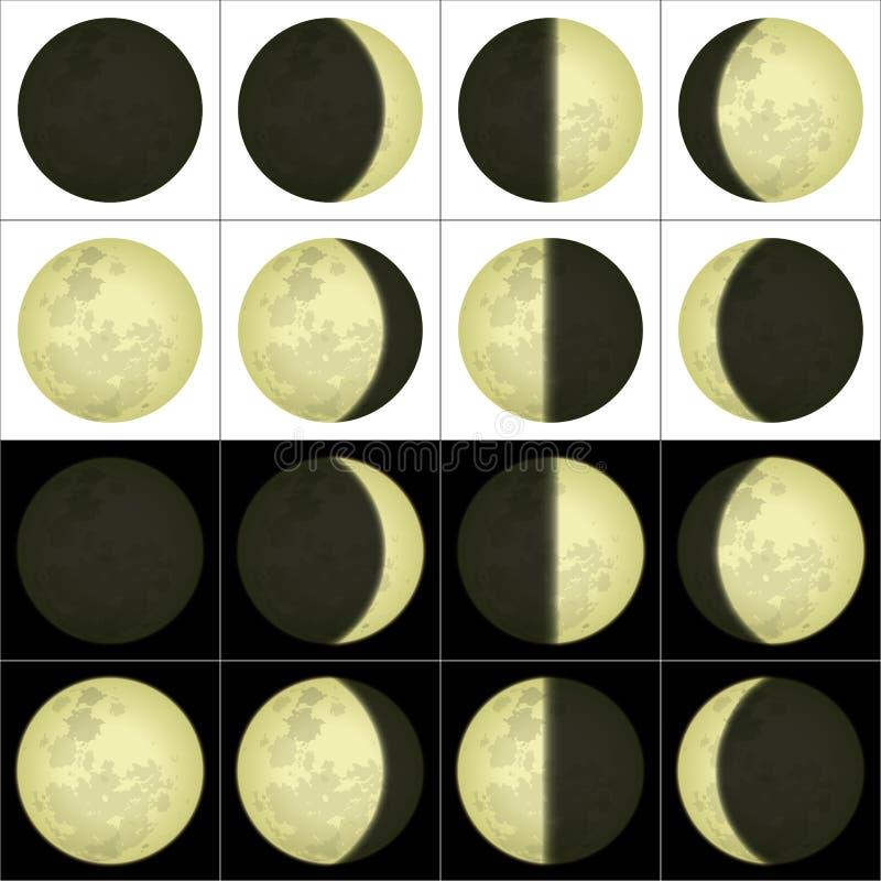 Månefaser, uppsättning royaltyfri illustrationer