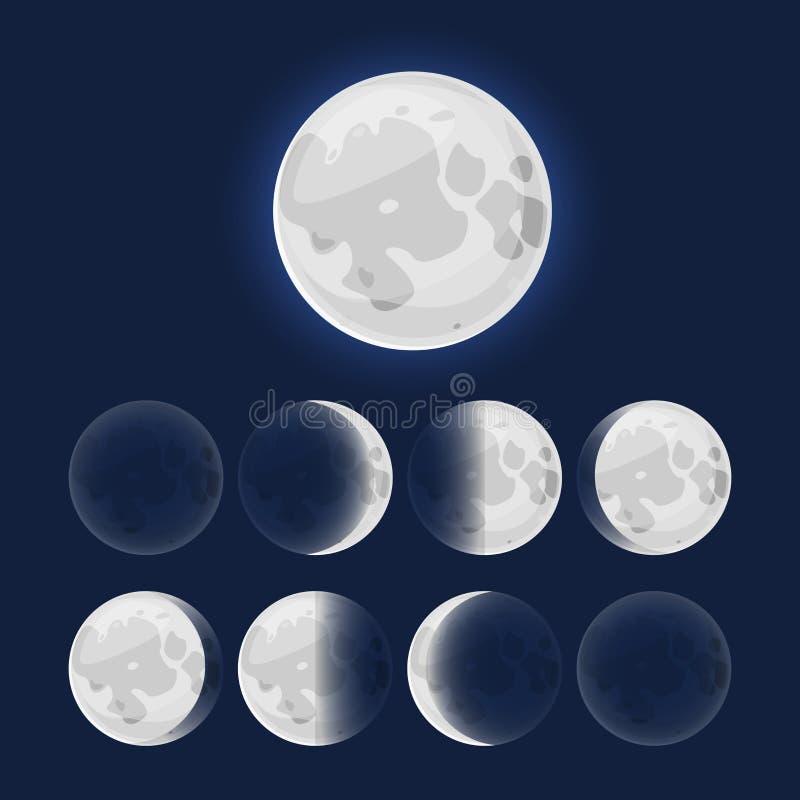 Månefaser, vektorillustration vektor illustrationer