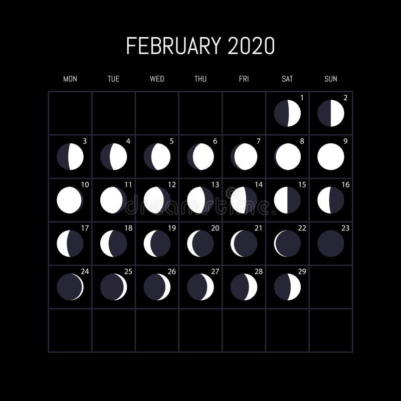 Månefaskalender för 2020 år februari Nattbakgrundsdesign ocks? vektor f?r coreldrawillustration stock illustrationer