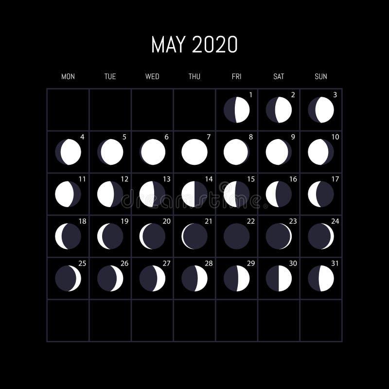 Månefaskalender för 2020 år kunna Nattbakgrundsdesign ocks? vektor f?r coreldrawillustration vektor illustrationer