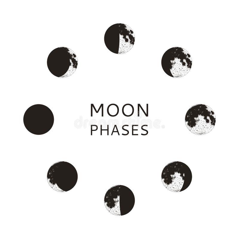 Månefasuppsättning, realistiska grafiska symboler, vektorillustration stock illustrationer