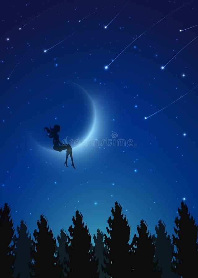 Måneflicka, felik kontur som sitter på månen stock illustrationer