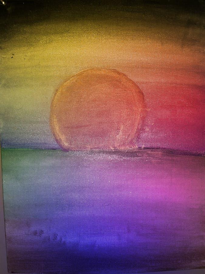 Måneinställning arkivbilder