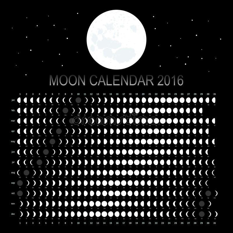 Månekalender 2016 vektor illustrationer