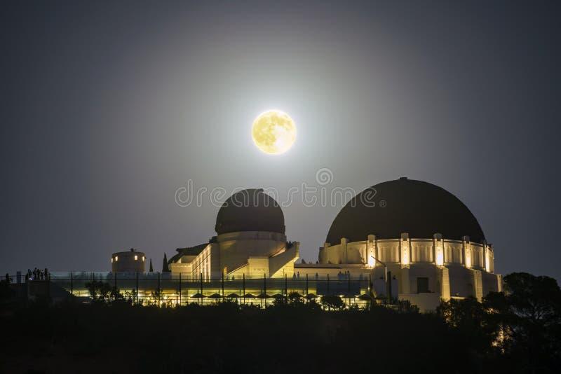 Månelöneförhöjning över Griffith Observatory royaltyfri foto