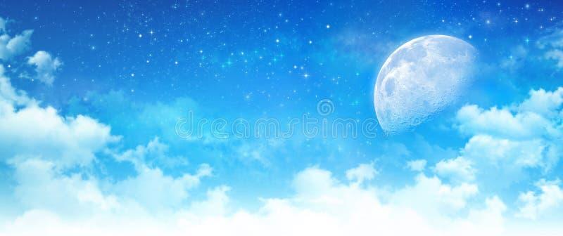 Måneljus i en molnig blå himmel stock illustrationer