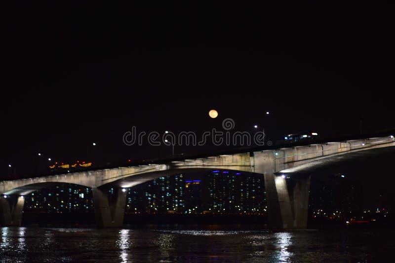 Måneljuset i Seoul arkivfoton