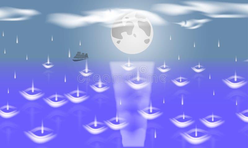 Månen döljer över horisonten av det blåa havet under regnet stock illustrationer