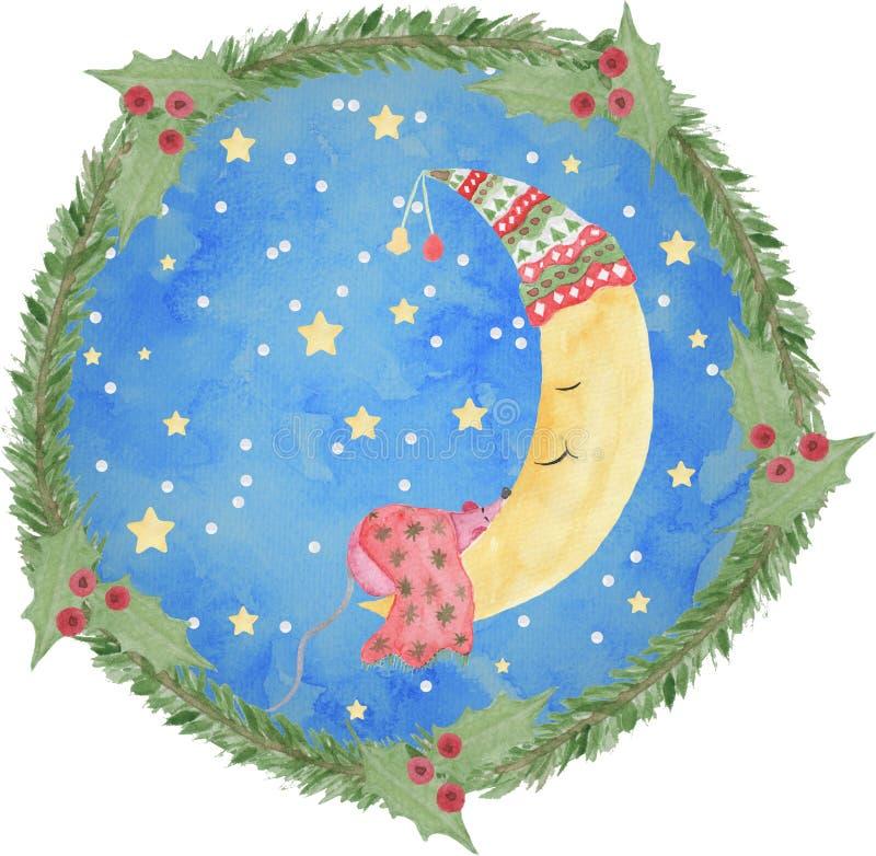 Månen i en julkrans som målas i vattenfärg, hand som målas, med en tjalla som sover på månen, med stjärnor och snö stock illustrationer