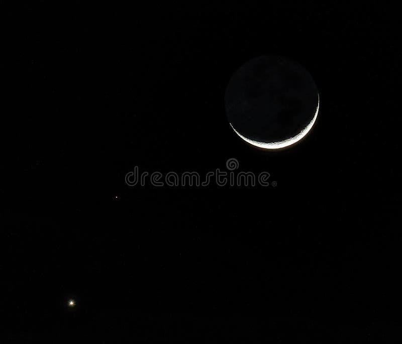 Månen och planeterna royaltyfria foton