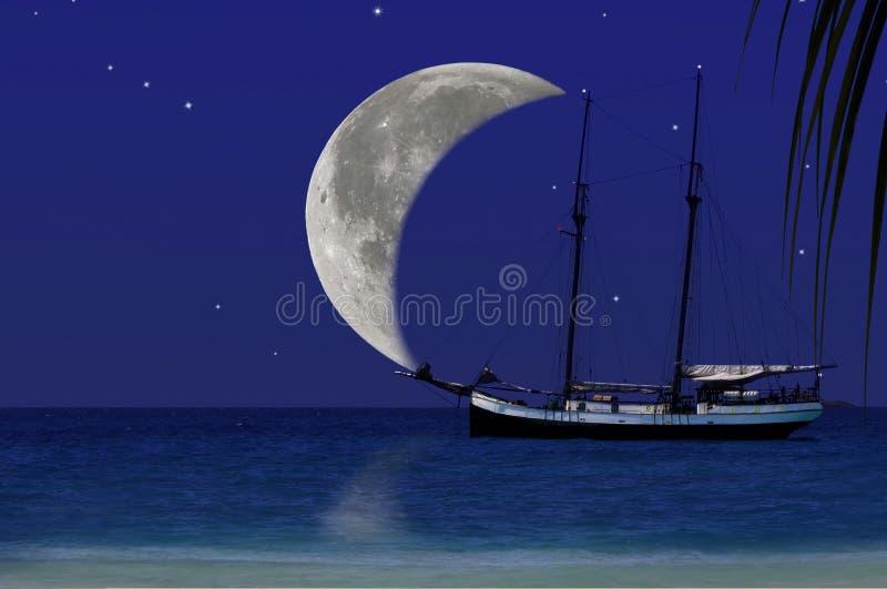 Månen seglar av paradisresa