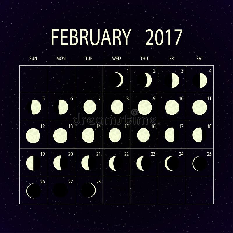Månen synkroniserar kalendern för 2017 februari också vektor för coreldrawillustration stock illustrationer