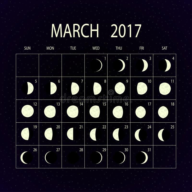 Månen synkroniserar kalendern för 2017 marsch också vektor för coreldrawillustration royaltyfri illustrationer