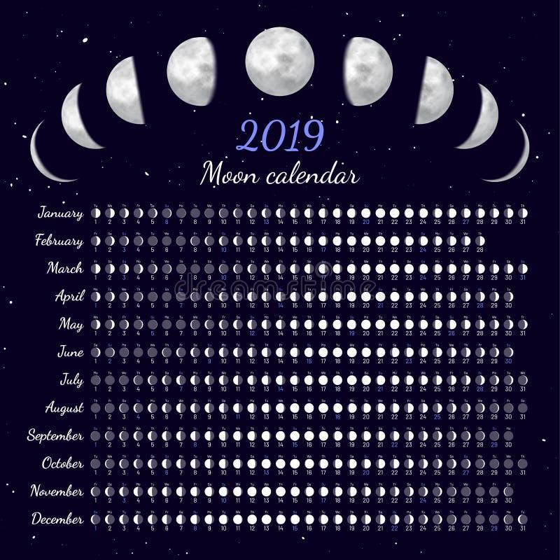 Månen synkroniserar kalendervektorillustrationen stock illustrationer