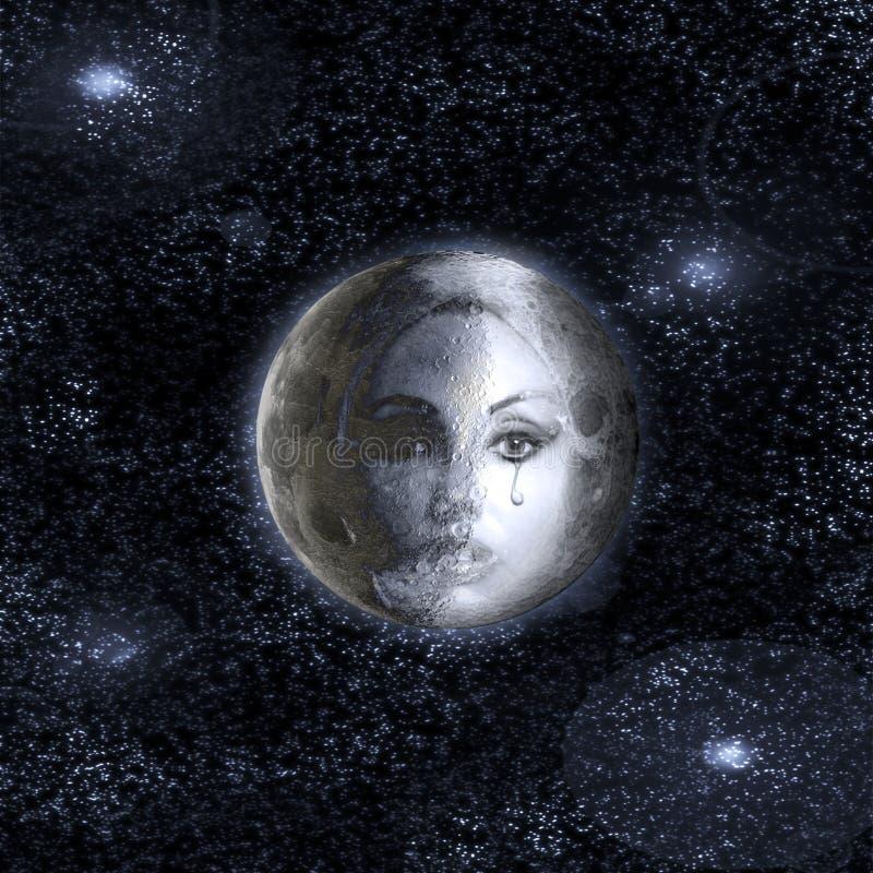 Månen vänder in i en framsida av den härliga kvinnan i natthimlen. royaltyfria foton