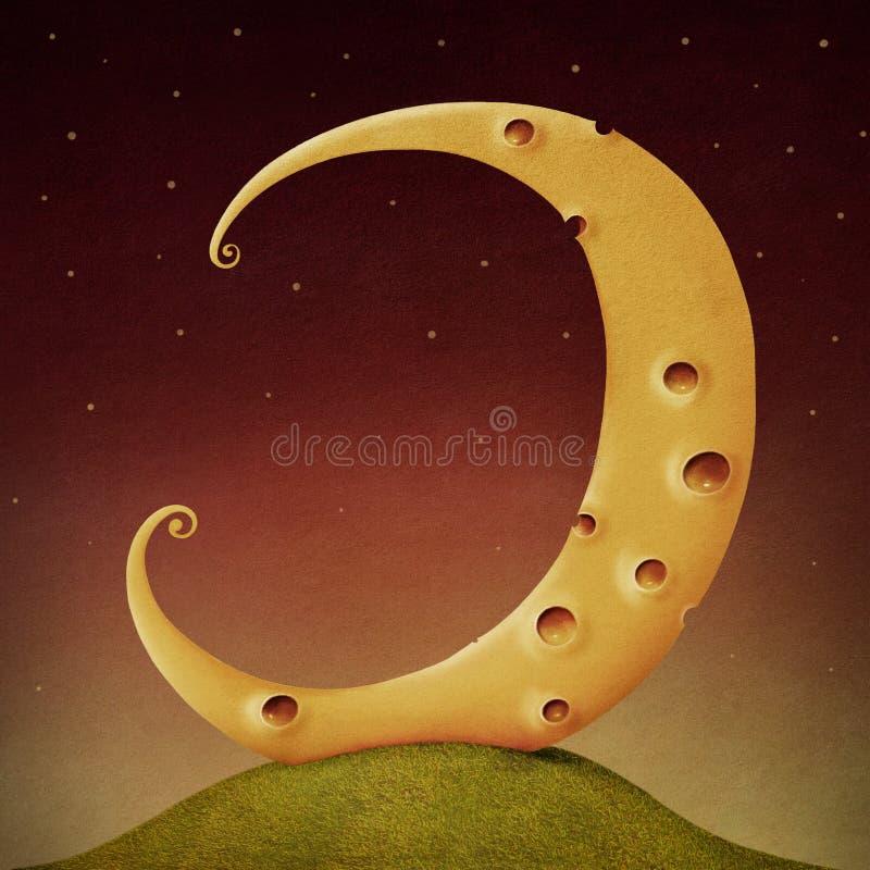 Måneost royaltyfri illustrationer