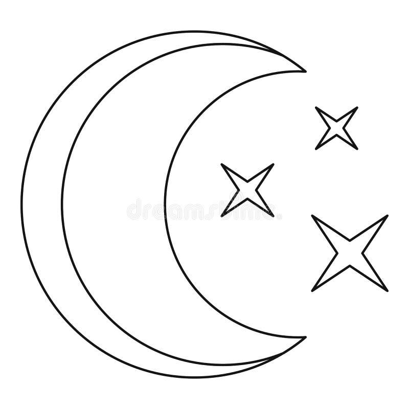 Månesymbol, översiktsstil royaltyfri illustrationer