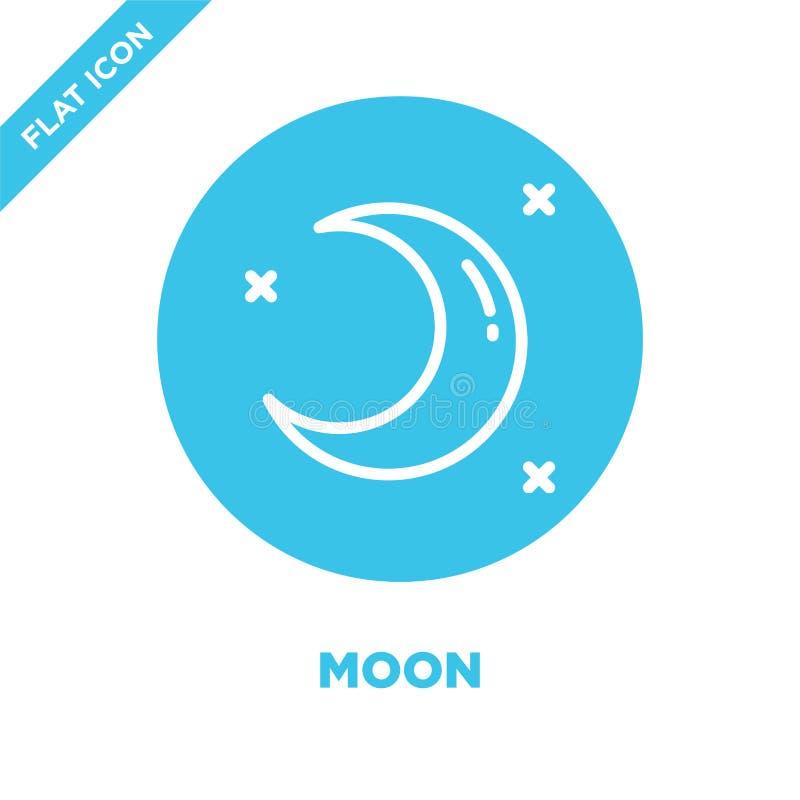 månesymbolsvektor från vädersamling Tunn linje illustration för vektor för måneöversiktssymbol Linjärt symbol för bruk på rengöri royaltyfri illustrationer