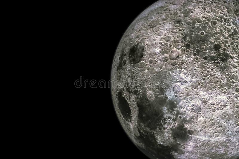 Måneyttersida och texturer med krater som isoleras på svart bakgrund med kopieringsutrymme stock illustrationer
