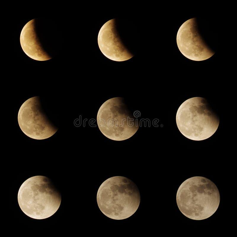 Månförmörkelseserie arkivfoto