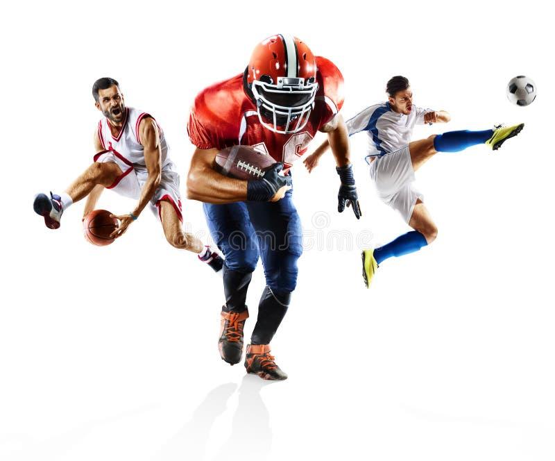 Mång- bascketball för amerikansk fotboll för sportcollagefotboll arkivfoton