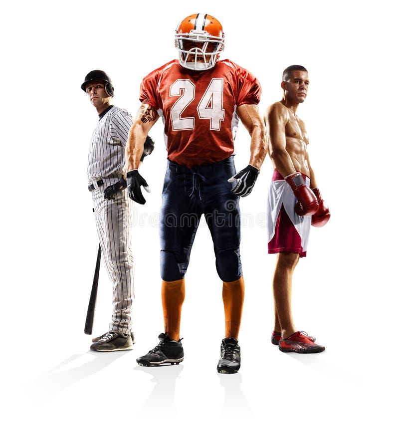 Mång- boxning för amerikansk fotboll för sportcollagebaseball arkivbilder
