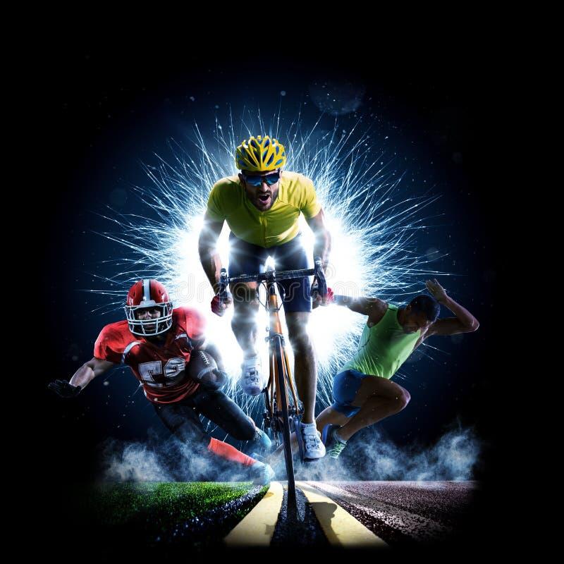 Mång- cykel för sportcollageväg som rinning amerikansk fotboll fotografering för bildbyråer