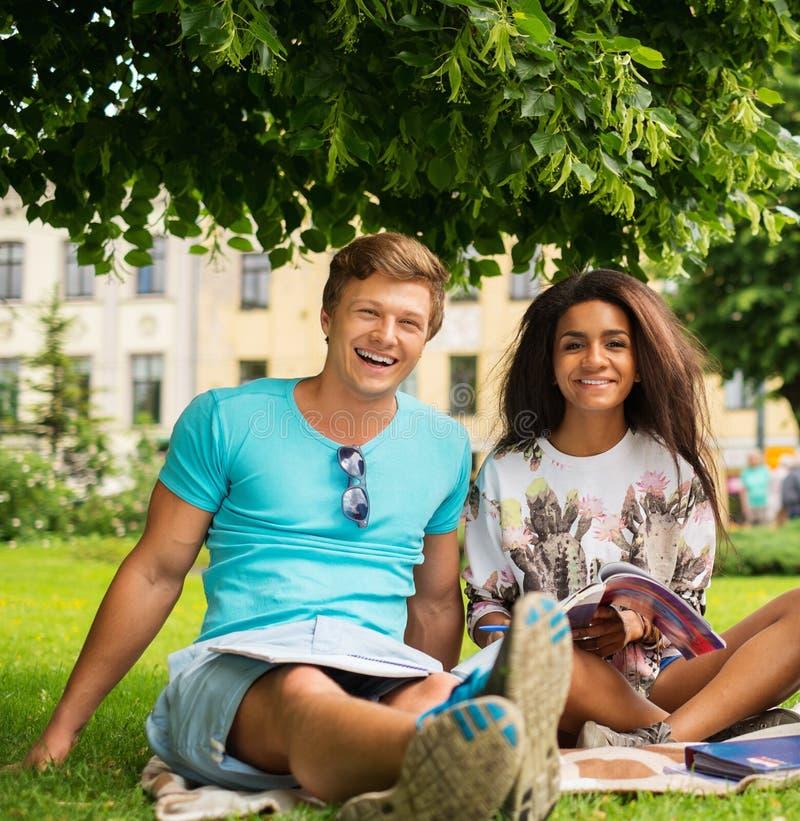 Mång- etniska studentpar i en parkera royaltyfri foto