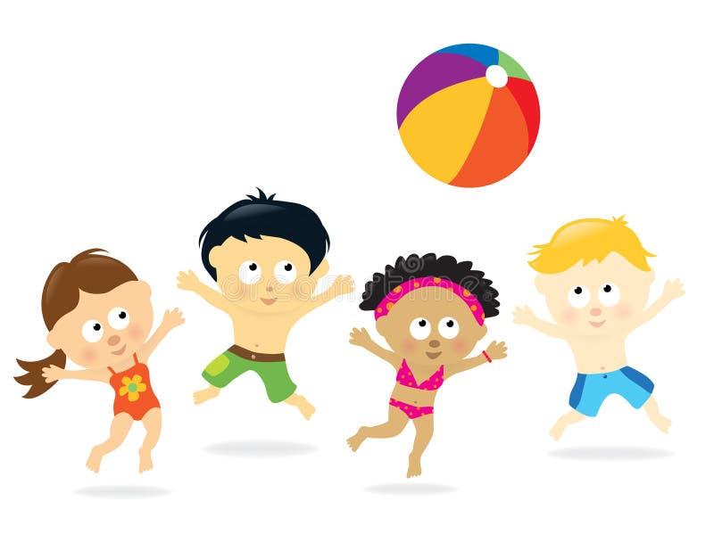 mång- etniska ungar för strand