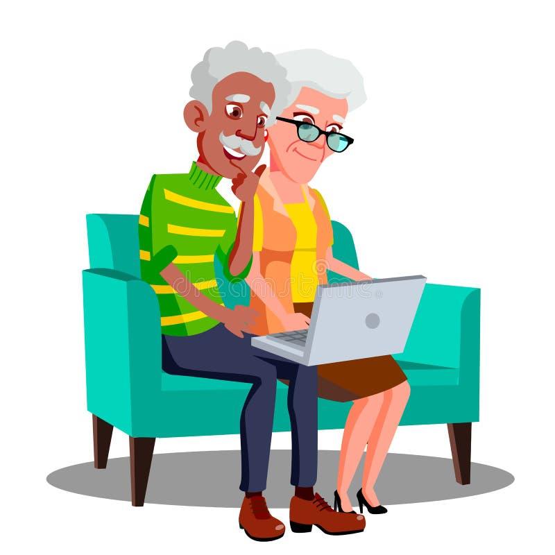 Mång- etniskt parsammanträde på soffan med kopp- och bärbar datorvektorn isolerad knapphandillustration skjuta s-startkvinnan royaltyfri illustrationer
