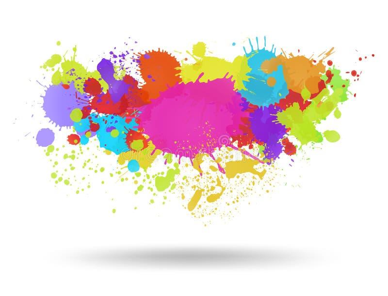 Mång- färg bläckar ner bakgrund stock illustrationer