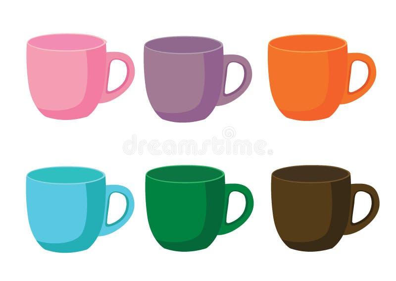 Mång- färg för kaffekopp och purpurfärgad orange blå grön brunt för många för kaffekoppar mång- rosa färger för färg royaltyfri illustrationer