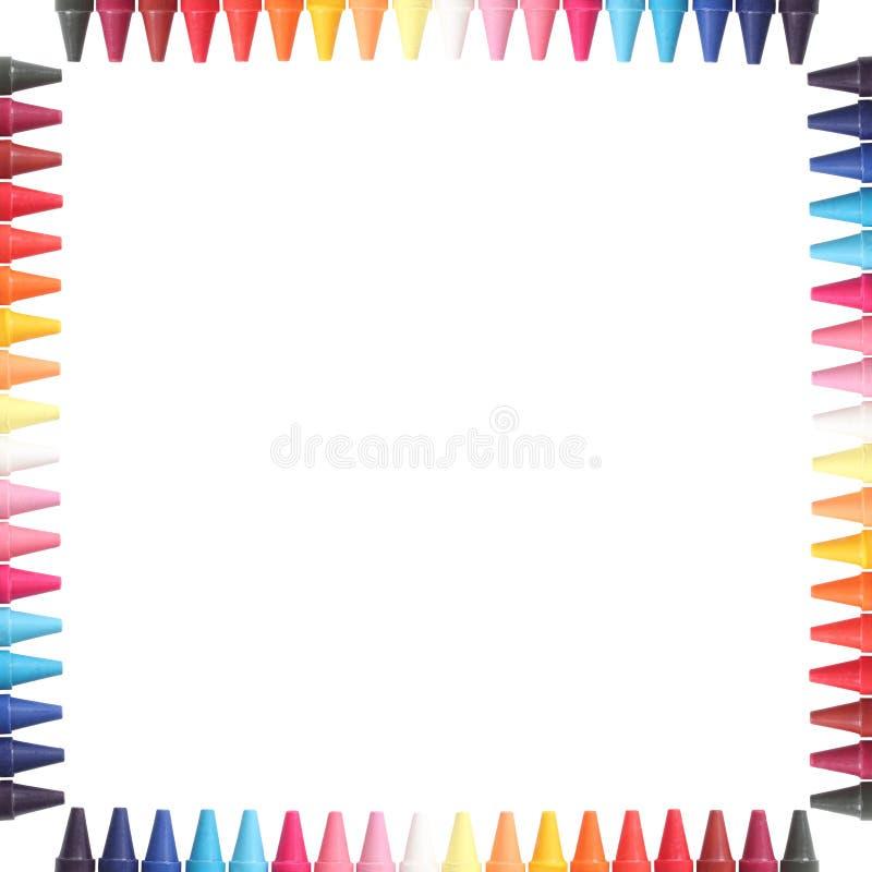 Mång- färga pastell (crayon) ritar gränsar isolerat royaltyfri fotografi
