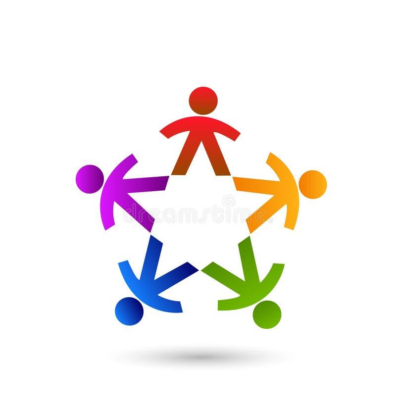 Mång--färgad grupp människor, teamworksymbol royaltyfri illustrationer