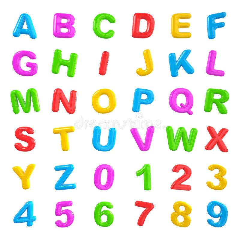 Mång- färgade bokstäver och nummer vektor illustrationer