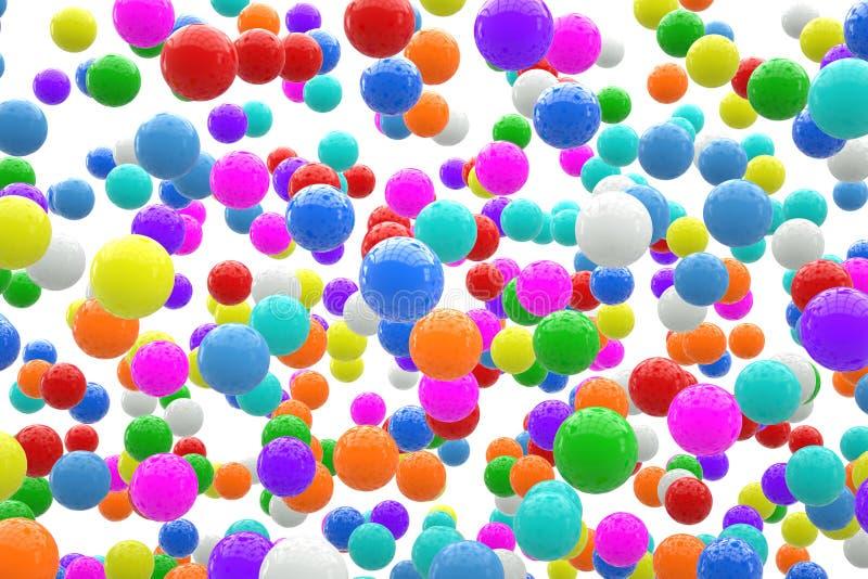 Mång--färgade bollar i himlen vektor illustrationer