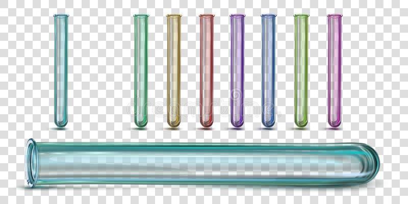 Mång--färgade exponeringsglaslaboratoriumprovrör stock illustrationer