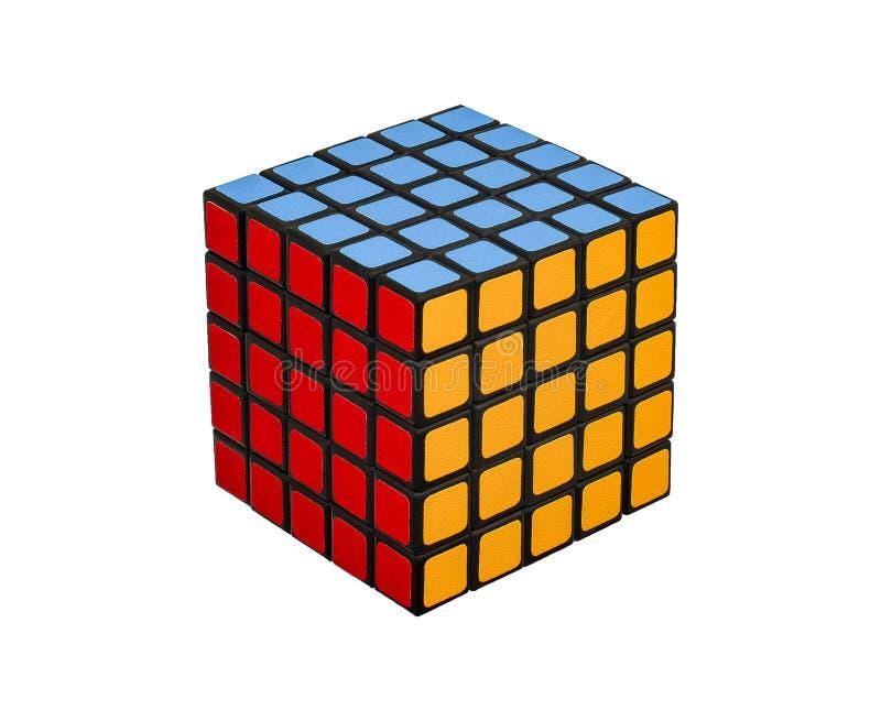 Mång--färgat framkallande pussel för kub för frågvisa meningar arkivfoto