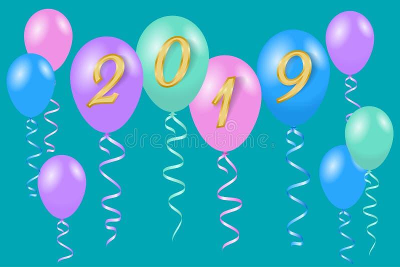 Mång--färgat helium sväller för hälsningkortet 2019 för det lyckliga nya året royaltyfri illustrationer