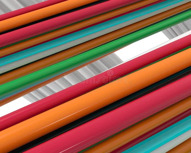 Mång- färgtrådar av plast- stock illustrationer