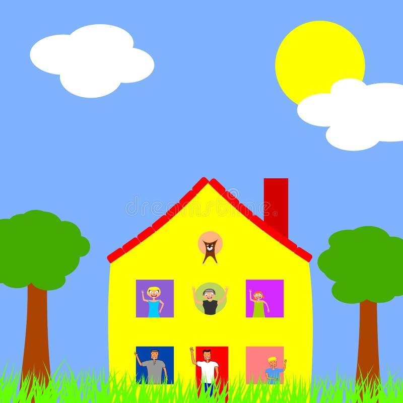 Mång- generationsbundet hushåll stock illustrationer