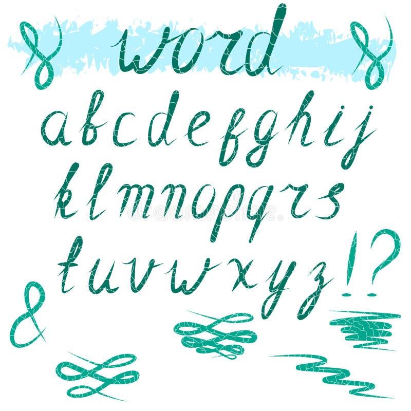 mång- gladlynt färgade engelska bokstäver för alfabet letters litet cursive royaltyfri illustrationer