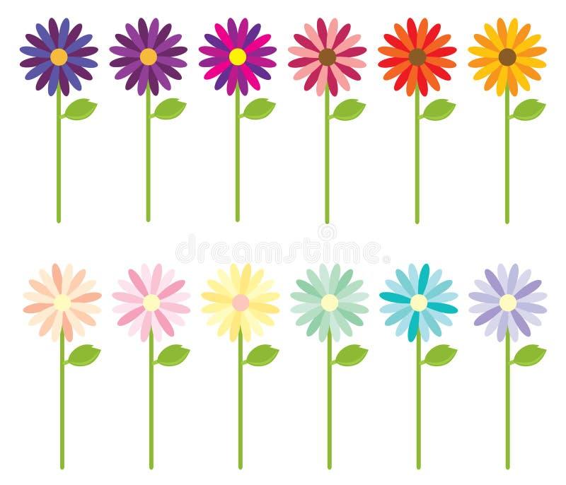 mång- kulöra blommor stock illustrationer